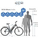 """NCM Milano 26""""-28"""" E-Bike Urban Trekkingbike 48V 16Ah 624Wh Akku Schwarz 26"""""""