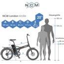 """NCM London Plus 20"""" E-Faltrad 36V 19Ah 684Wh"""