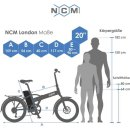 "NCM London Plus 20"" E-Faltrad 36V 19Ah 684Wh Schwarz"