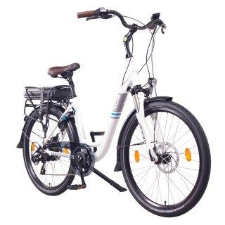 "NCM Munich 26""-28"" City E-Bike 36V 13Ah 468Wh Li-Ion Zellen Akku weiß 26"""