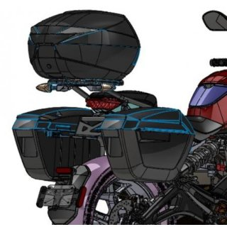 Zero Motorcycles SR/F Luggage Carrier System with SHAD Top and Side Cases