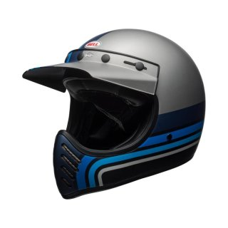 Bell Moto 3 Classic Vintage MX Helm Retro Matt Silber / schwarz L - 59-60cm