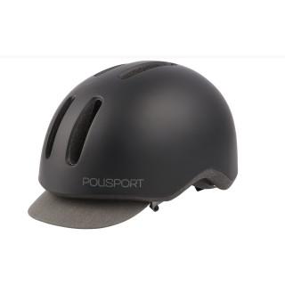 """Polisport Helm """"Commuter"""" schwarz matt/grau Cap Visier"""
