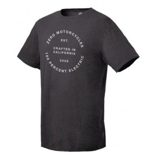 Zero Motorcycles 100% Electric Round Tee T-Shirt DUNKEL GRAU M